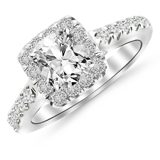 1.06 Carat Square Halo Cushion Cut Diamond Engagement Ring $1,700