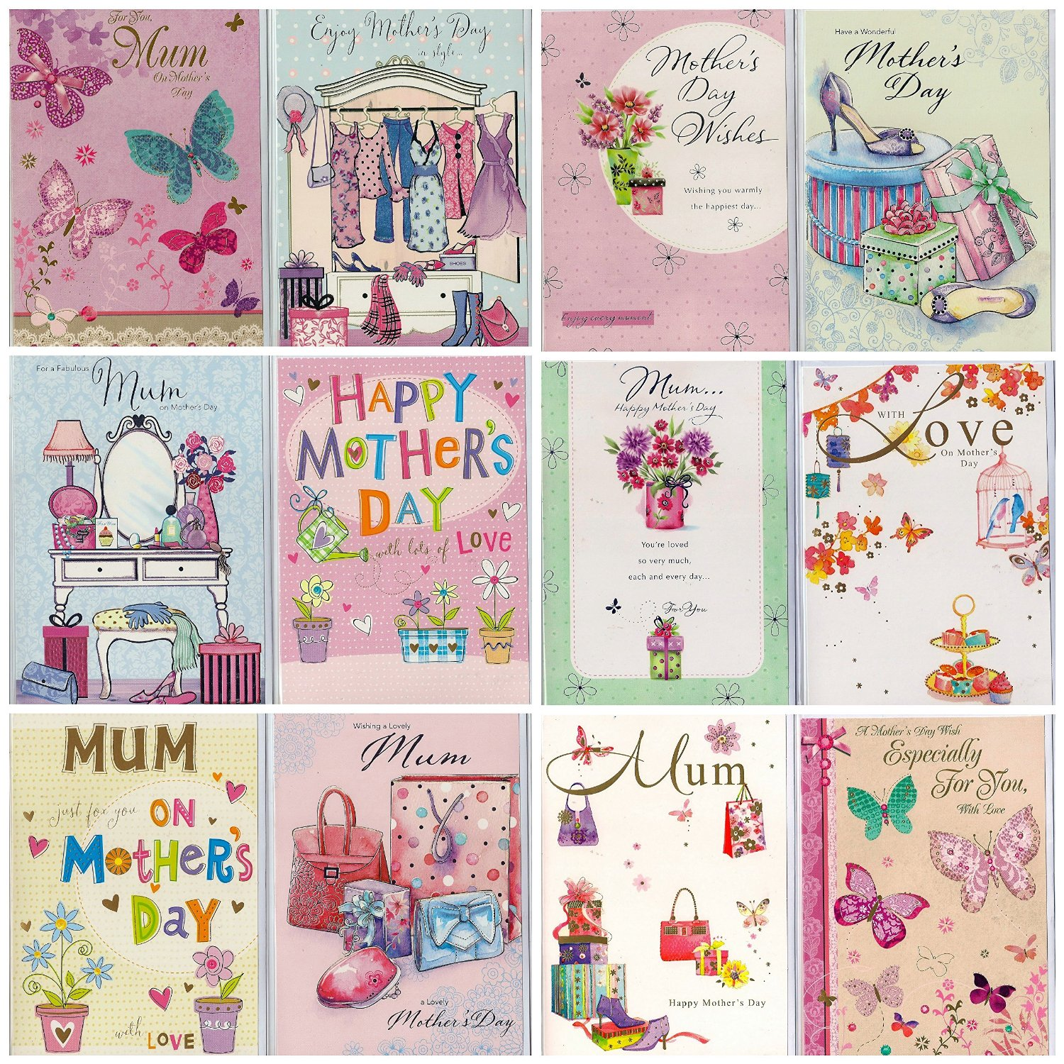 Greetingles Pack of 12 Embossed Various Mother's Day Greeting Cards & Envelopes