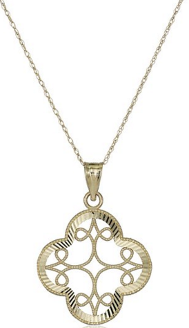 14k Yellow Gold Diamond-Cut Clover Pendant Necklace