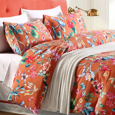 Tropical Garden Luxury 3 Piece Duvet Cover Set Island Tree Branch and Birds Multicolored Floral Pattern 100-percent brushed Cotton Twill (King) $76.80