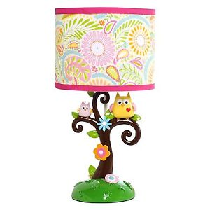 18Table Lamp Owl Tree Kids Nursery Shade Pink Bedroom
