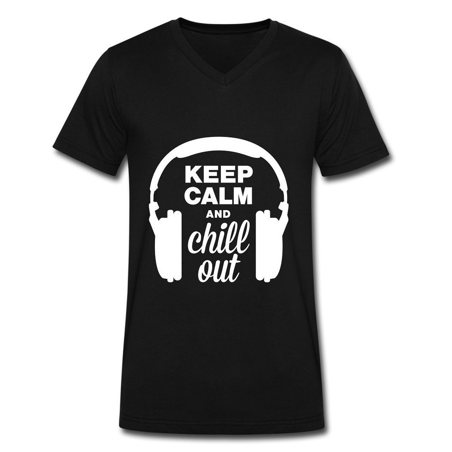 A N Y Men's Headphones Keep Calm And Chill Out T-Shirts Black