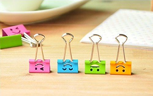 Pack of 40 Cute Lovely Smiling Face Spring-Loaded File Organizer