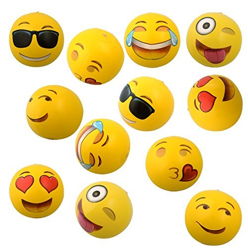 Emoji Inflatable Beach Balls, 12-Pack $11.23